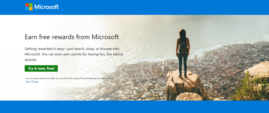 Microsoft Rewards homepage