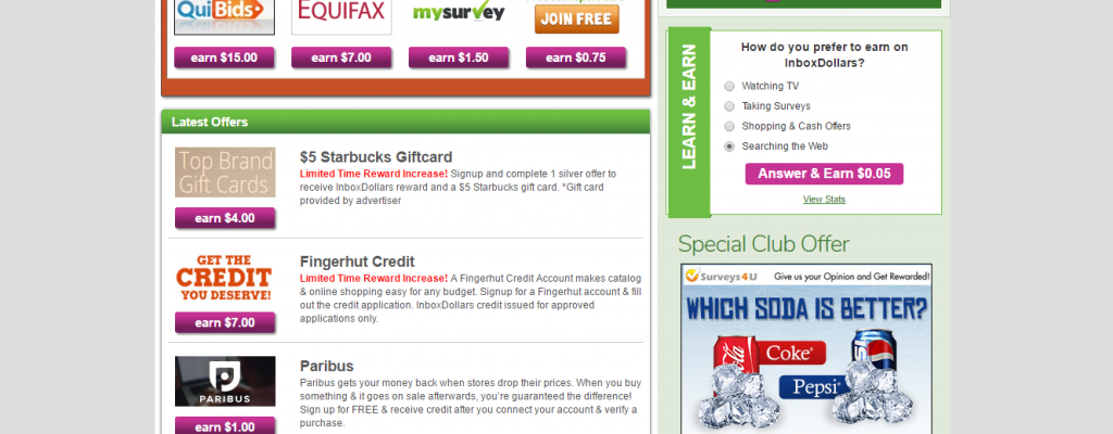 List of Inbox Dollars offers