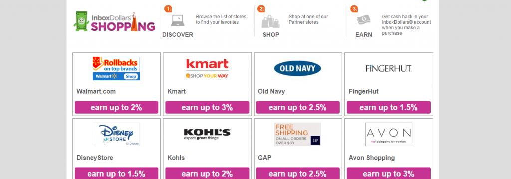 Grid of Inbox Dollars cashback shopping deals