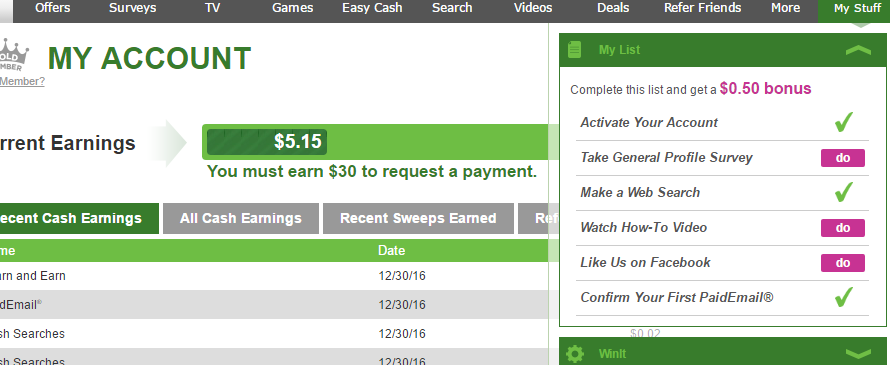 Complete my list to earn an extra $0.50