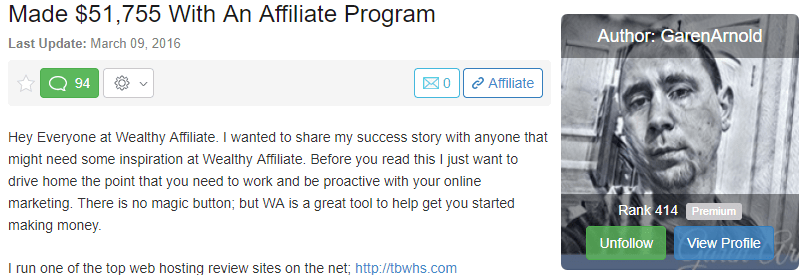 Made $51,755 with an Affiliate Program - Wealthy Affiliate success story
