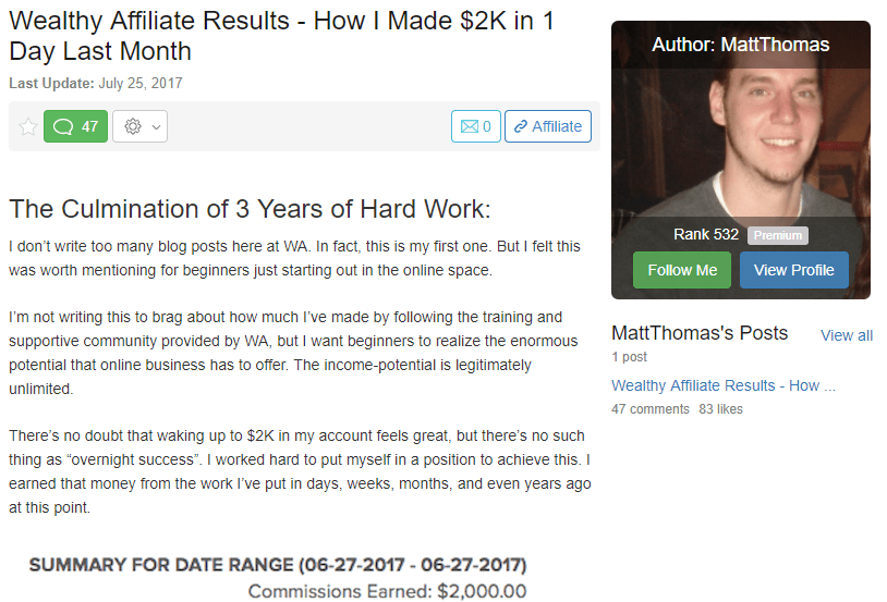 2 Thousand Dollars in One Day Wealthy Affiliate Success Story