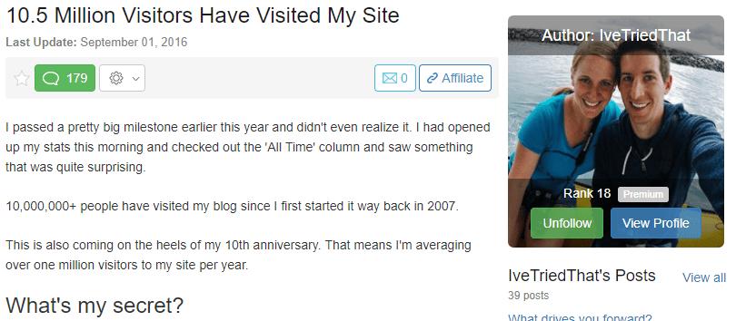 10.5 Million Website Visits - Wealthy Affiliate Success Story