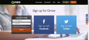 Qmee signup page