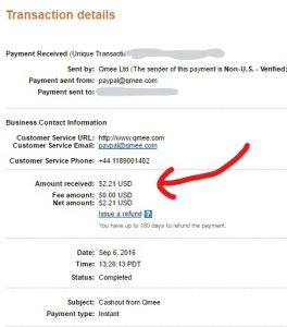 Proof of payment from Qmee