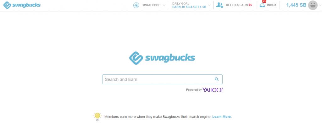 Swagbucks search engine