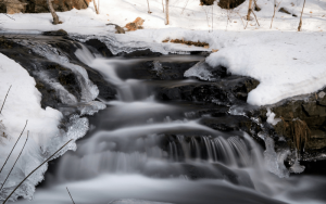 Freenaturestock free photo - Winter creek with rapids