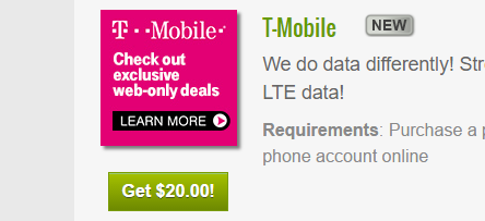 T-Mobile $20 paid offer