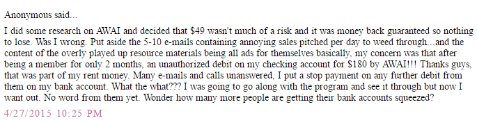 Negative user review of Barefoot Writer