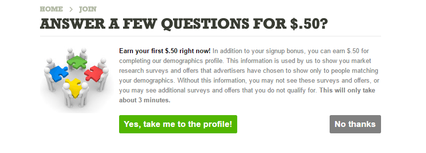 Take a profile survey for an extra 50 cents