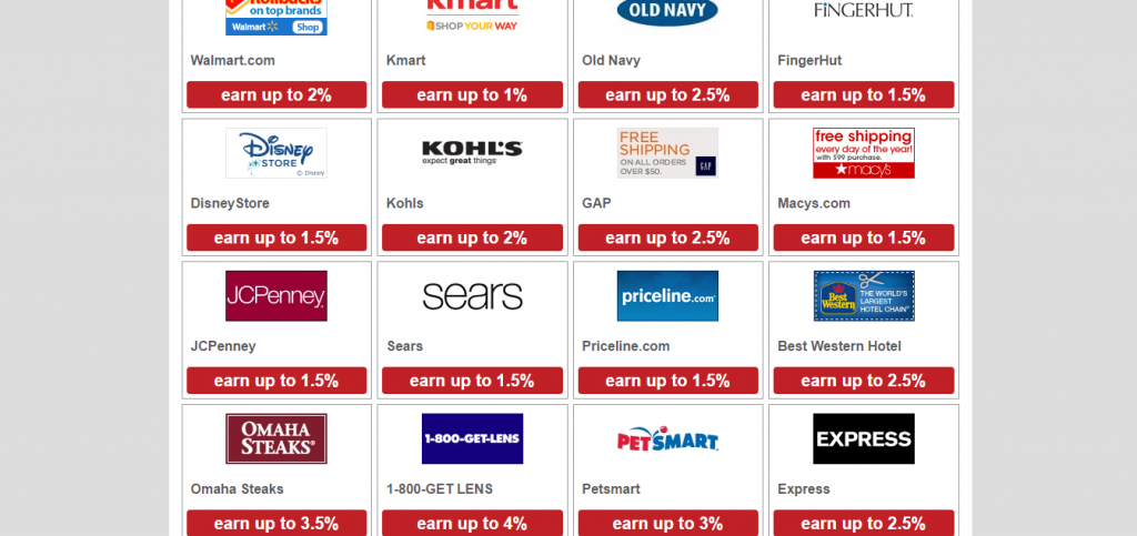 List of stores to get cash back with through SendEarnings