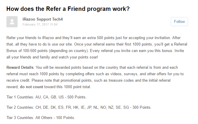 iRazoo referral program