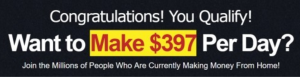"Make money online scam ""Want to make $397 per day?"""
