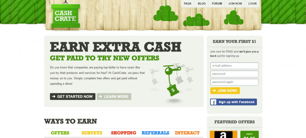 CashCrate home page
