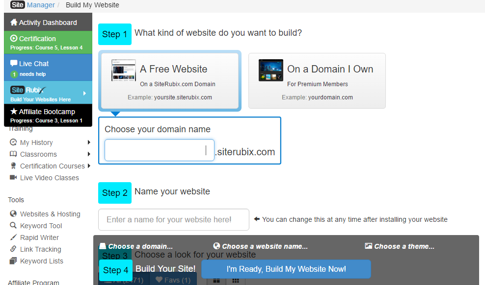 "Select ""A Free Website"" in the Site Builder"