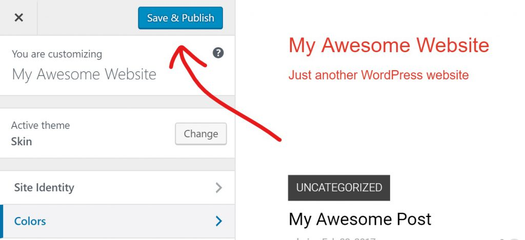Save and publish your website