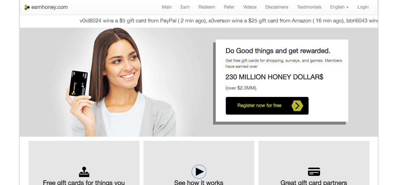 EarnHoney Homepage
