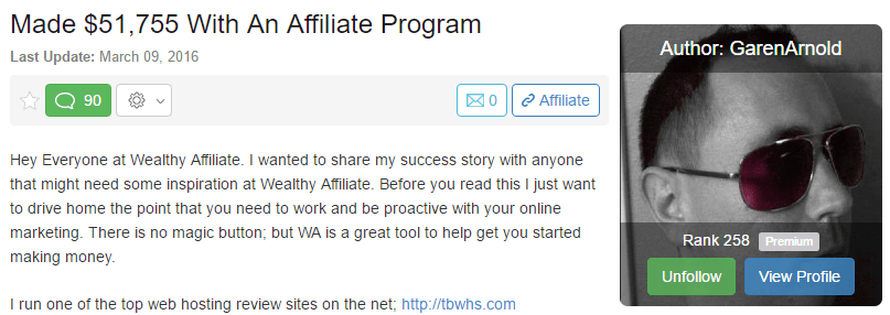 Success at Wealthy Affiliate