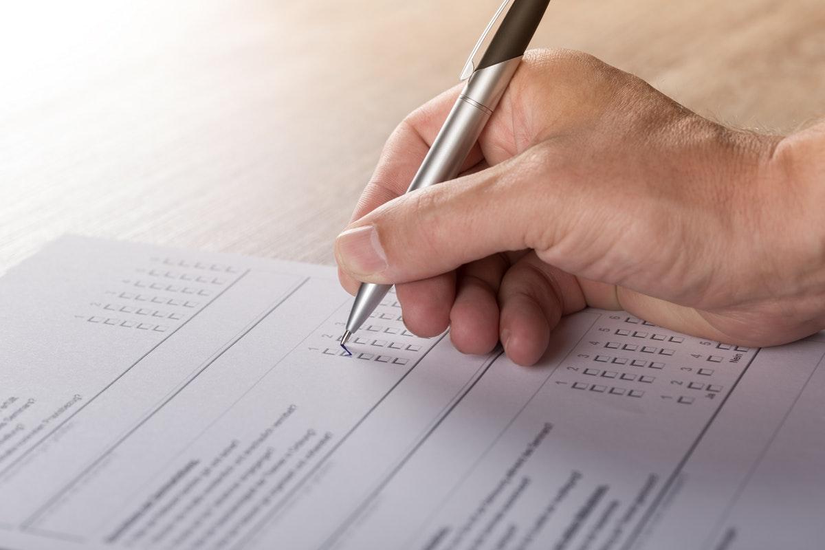 Person taking a survey