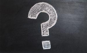 Question mark on chalkboard