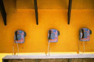 Row of three pay phones