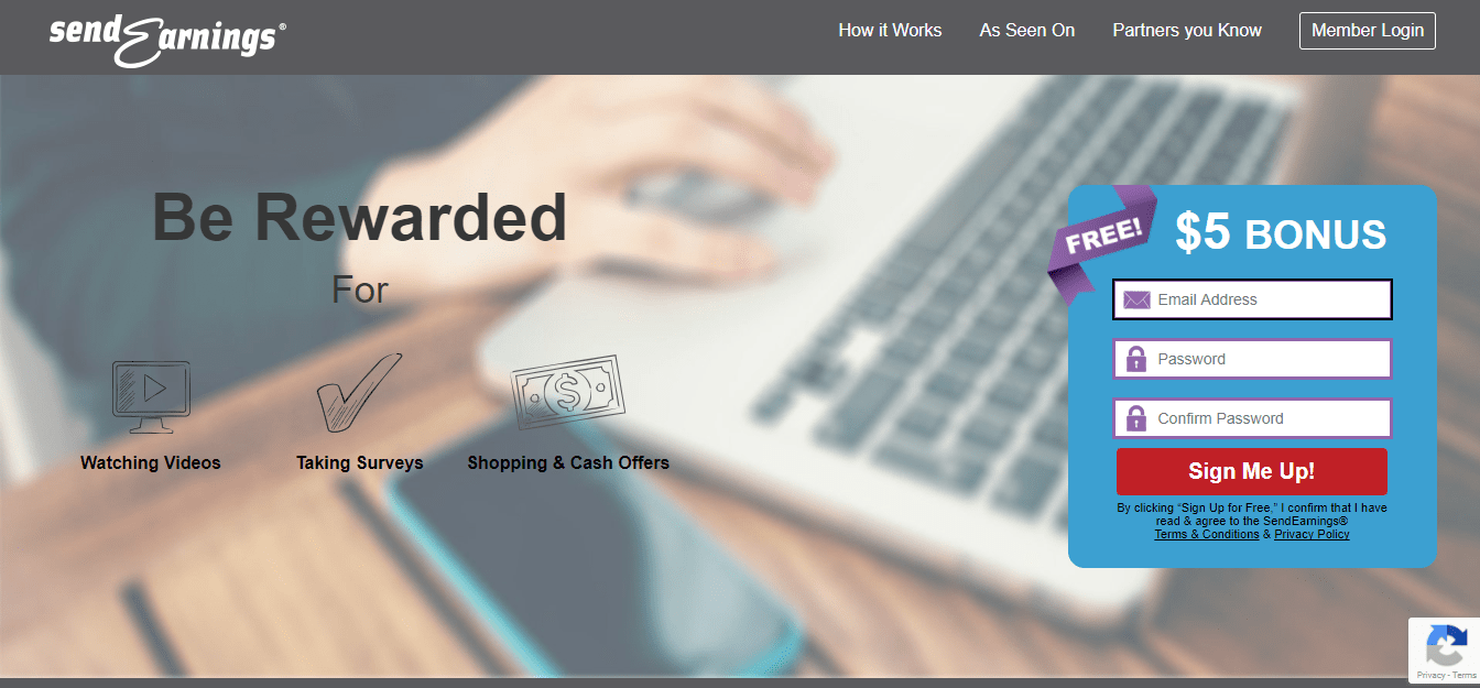 SendEarnings.com Homepage