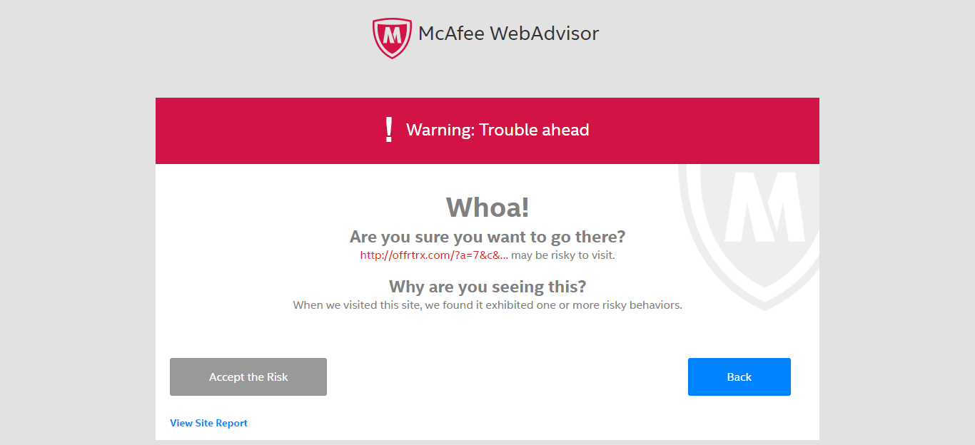 McAfee warning screen