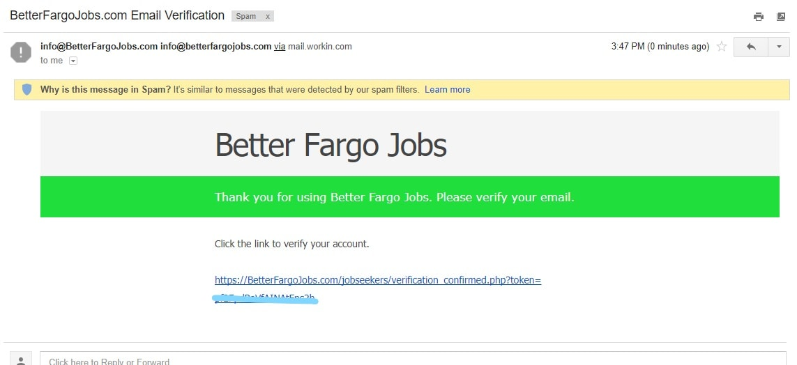 Better Fargo Jobs activation email