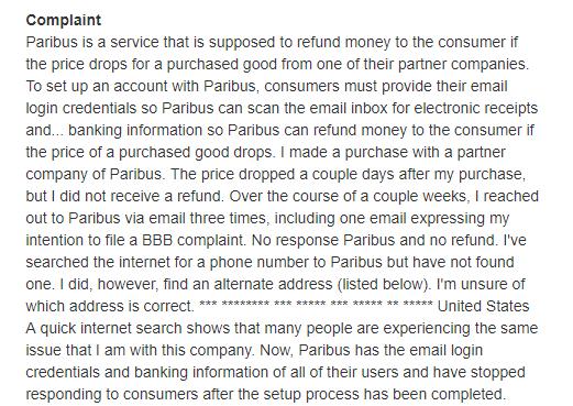 Paribus complaint 2