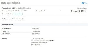 Dosh payment proof