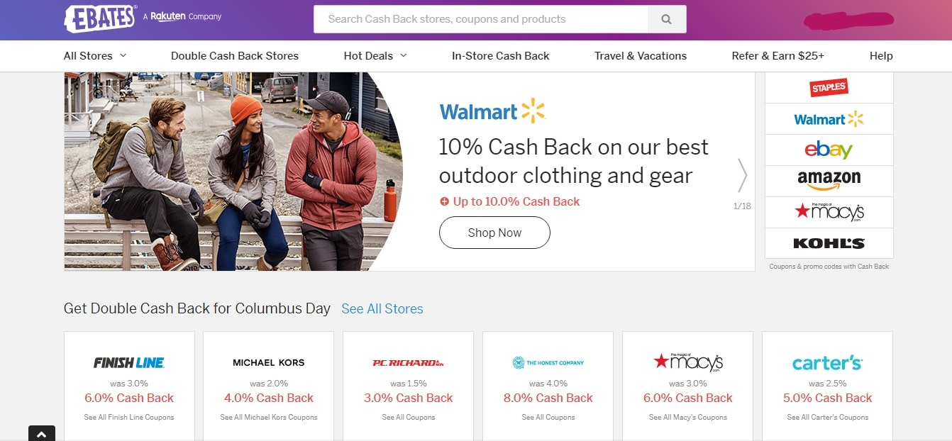 Ebates shop at Walmart