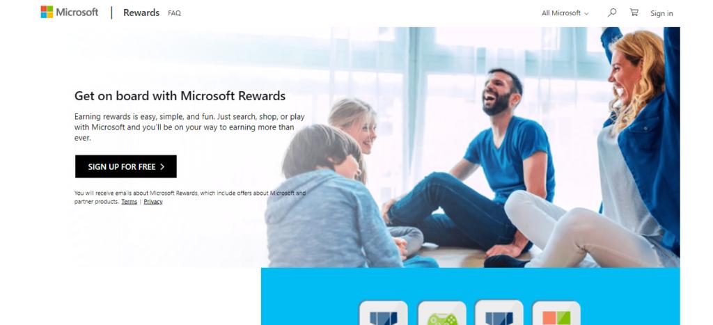 Microsoft Rewards homepage