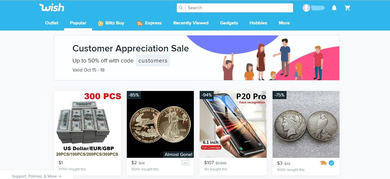 Wish shopping site homepage