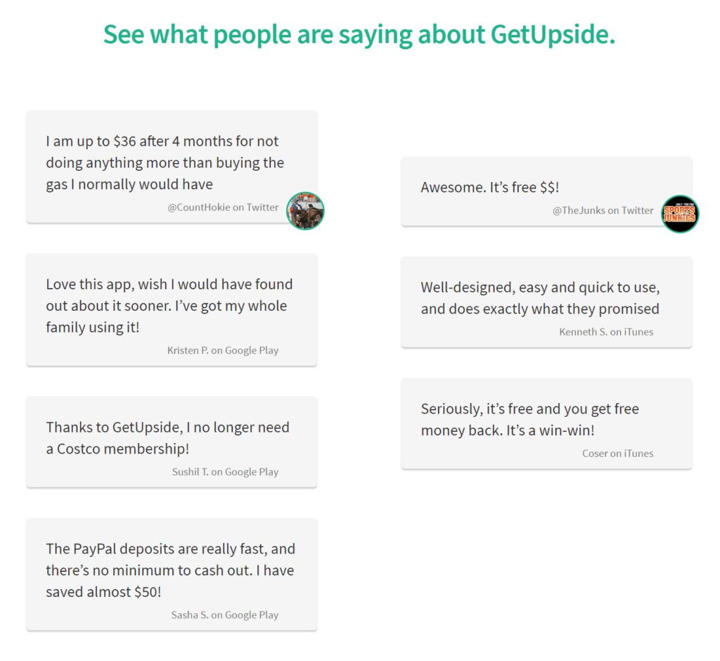 GetUpside testimonials and reviews