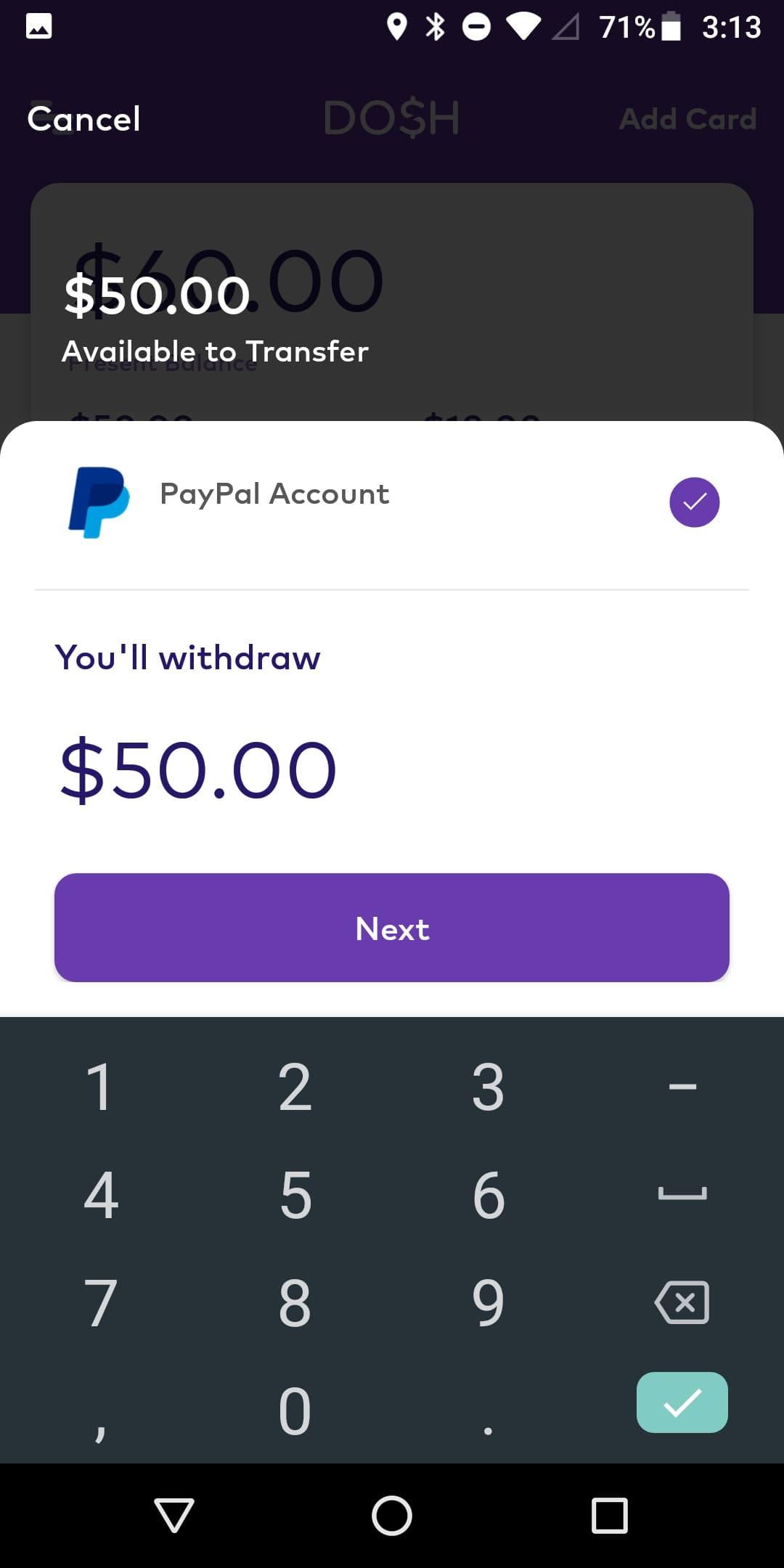 Dosh $50 payment