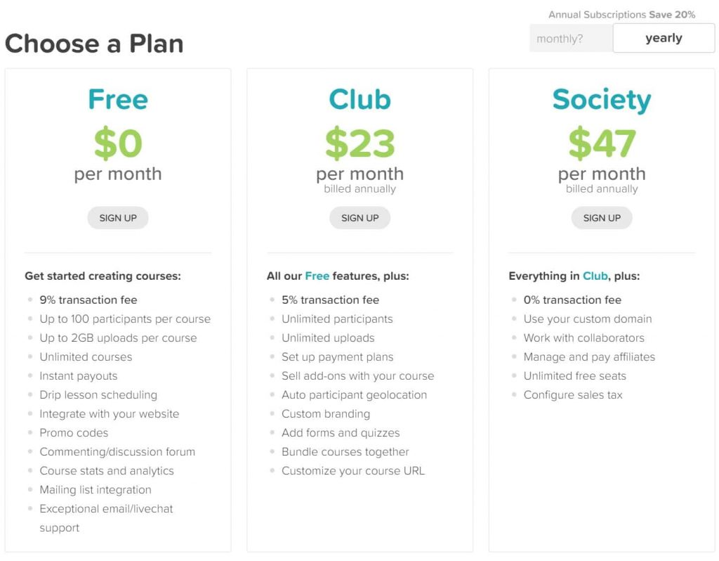 CourseCraft pricing plans