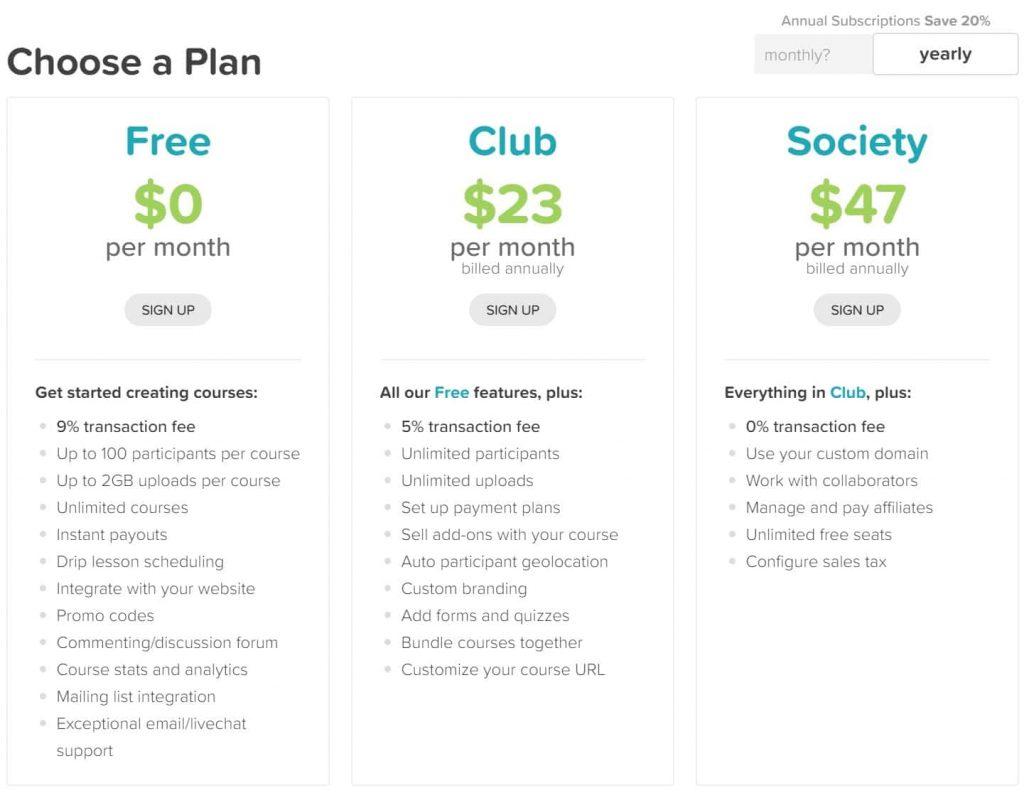 CourseCraft pricing plans