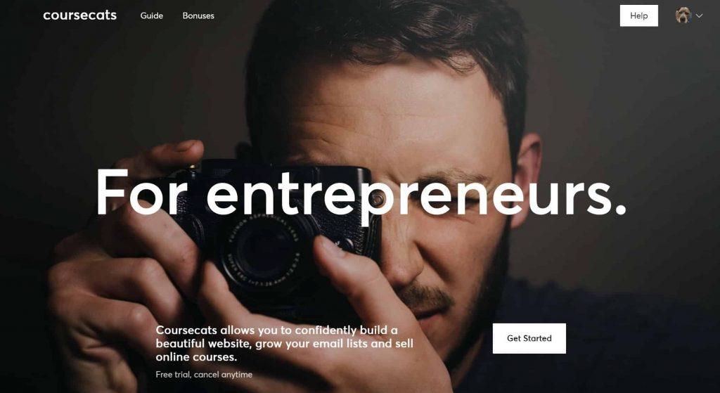 Coursecats website homepage
