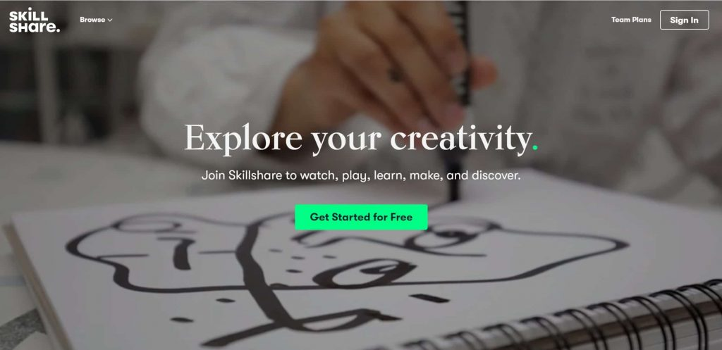 Skillshare website homepage