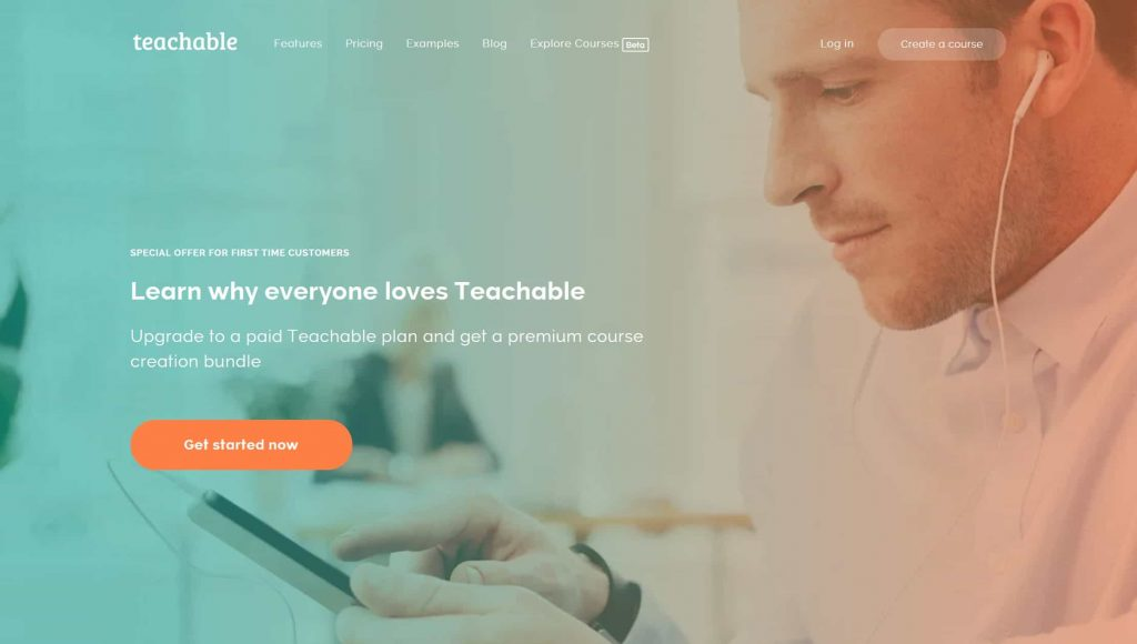 Teachable website homepage