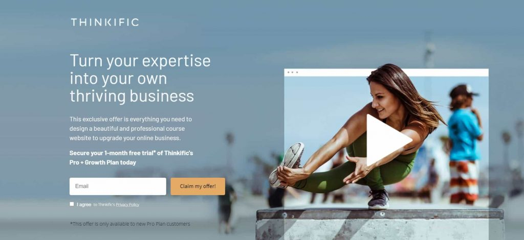 Thinkific website homepage