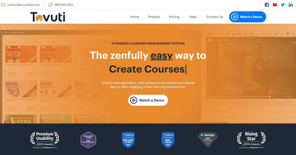 Tovuti website homepage