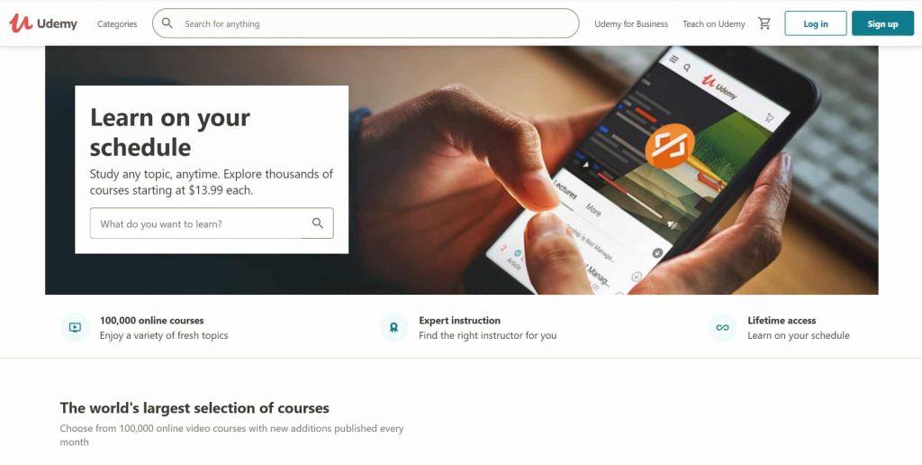 Udemy website homepage