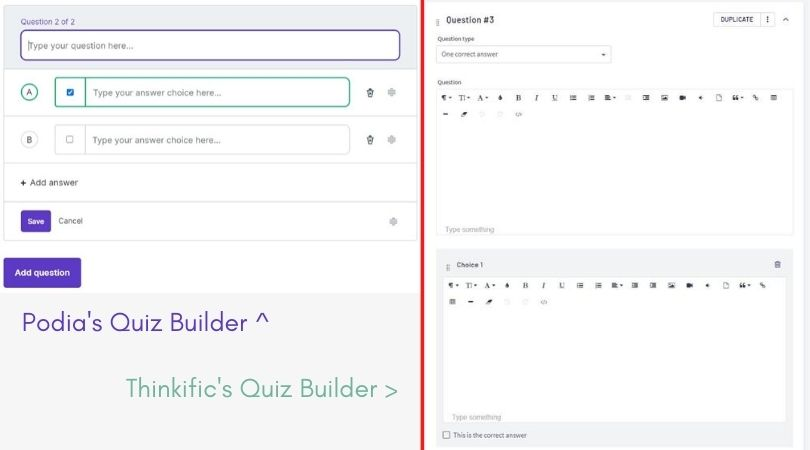 Comparison of Podia's and Thinkific's quiz builders