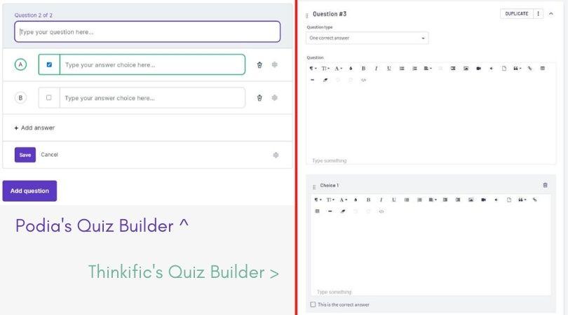 Comparison of Podia's and Thinkific's quiz builders