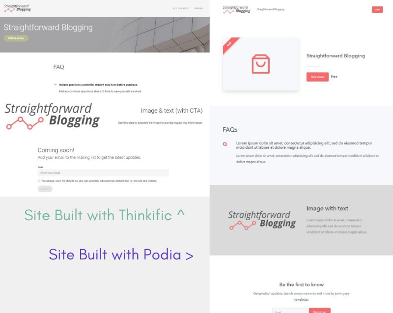 Comparison of Thinkific and Podia Website Builders