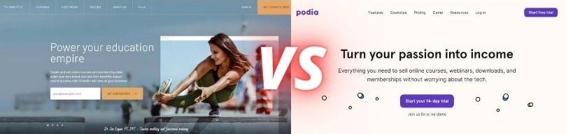 Thinkific vs Podia