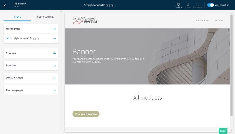 Thinkific website builder